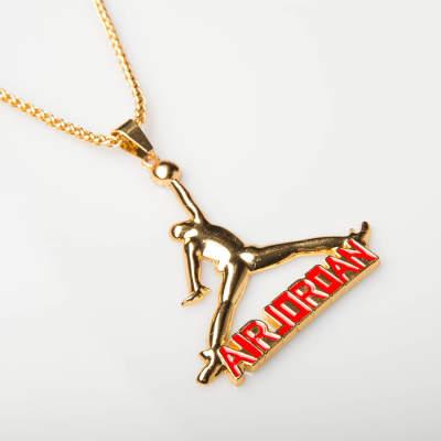 Air Jordan Kırmızı Yazılı Gold Kolye