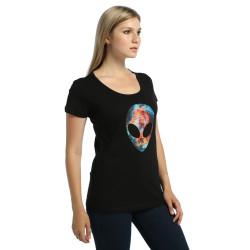 Bant Giyim - Alien Cosmos Kadın Siyah T-shirt - Thumbnail