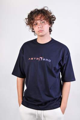 HollyHood - ASTROBRO Basket Baskılı Lacivert Oversize Tişört