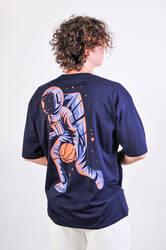 ASTROBRO Basket Baskılı Lacivert Oversize Tişört - Thumbnail