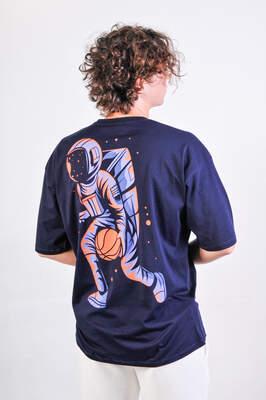 ASTROBRO Basket Baskılı Lacivert Oversize Tişört
