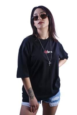 ASTROBRO Dj Baskılı Lacivert Oversize Tişört