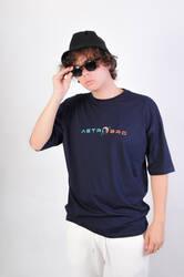 ASTROBRO Skate Baskılı Lacivert Oversize Tişört - Thumbnail
