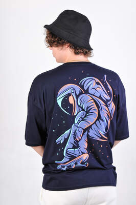 ASTROBRO Skate Baskılı Lacivert Oversize Tişört