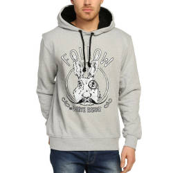 Bant Giyim - Follow White Rabbit Gri Hoodie - Thumbnail