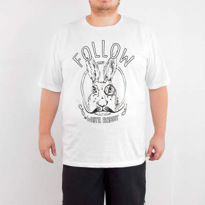 Bant Giyim - White Rabbit 4XL Beyaz T-shirt