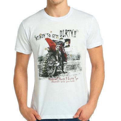 Bant Giyim - Motosiklet Motocross Beyaz T-shirt