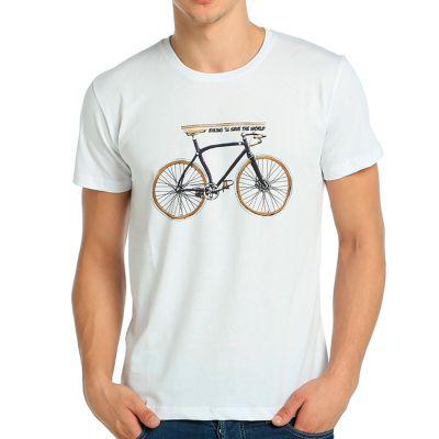 Bant Giyim - Bisiklet Beyaz T-shirt