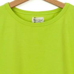 Bant Giyim - Dar Kesim Bisiklet Yaka Yeşil Kadın T-shirt - Thumbnail