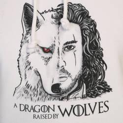 Bant Giyim - Game Of Thrones Jon Snow Beyaz Cepli Hoodie (Fırsat Ürünü) - Thumbnail