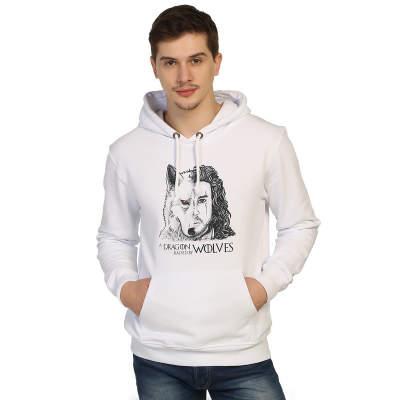 Bant Giyim - Game Of Thrones Jon Snow Beyaz Cepli Hoodie (Fırsat Ürünü)