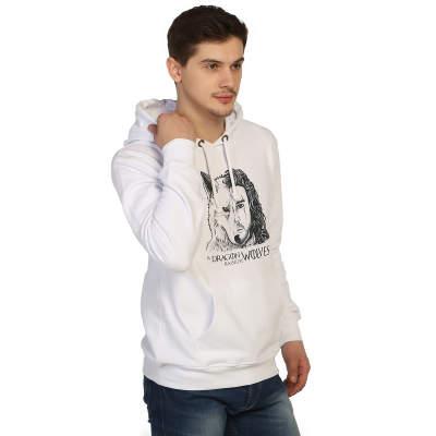 İndirim - Bant Giyim - Game Of Thrones Jon Snow Beyaz Cepli Hoodie (Fırsat Ürünü)