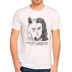 Bant Giyim - Bant Giyim - Game Of Thrones Jon Snow Beyaz Erkek T-shirt Tişört