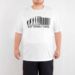 Bant Giyim - Bant Evolution Of Barcode 4XL Büyük Beden Beyaz Tişört