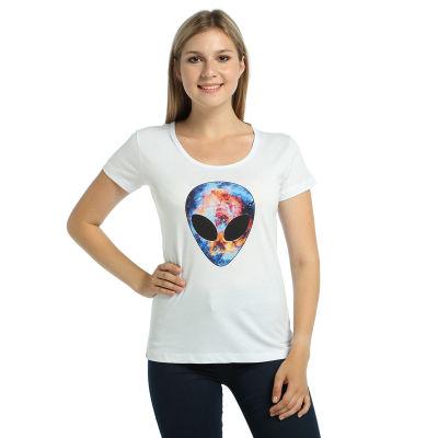 Bant Giyim - Alien Cosmos Kadın Beyaz T-shirt