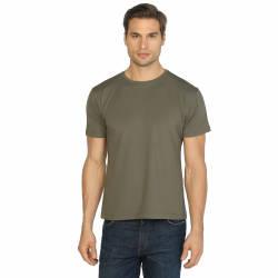 Bant Giyim - Bant Giyim - Haki Bisiklet Yaka Likralı Erkek T-shirt
