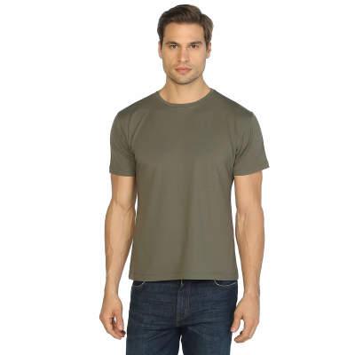 Bant Giyim - Haki Bisiklet Yaka Likralı Erkek T-shirt