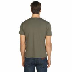 Bant Giyim - Haki Bisiklet Yaka Likralı Erkek T-shirt - Thumbnail