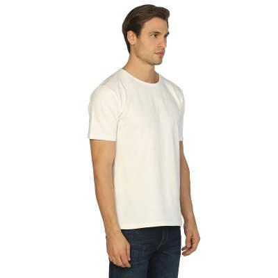 Bant Giyim - Krem Bisiklet Yaka Likralı Erkek T-shirt