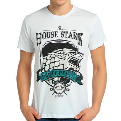 Bant Giyim - Game Of Thrones Stark Beyaz Erkek T-shirt Tişört