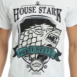 Bant Giyim - Game Of Thrones Stark Beyaz Erkek T-shirt Tişört - Thumbnail