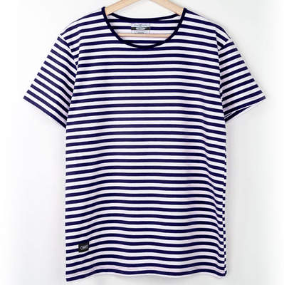Bant Giyim - Çizgili Lacivert Beyaz Likralı T-Shirt Tişört