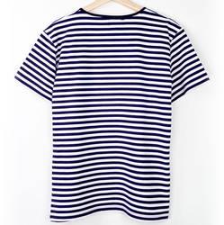 Bant Giyim - Çizgili Lacivert Beyaz Likralı T-Shirt Tişört - Thumbnail