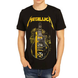 Bant Giyim - Metallica Gitar Siyah T-shirt - Thumbnail