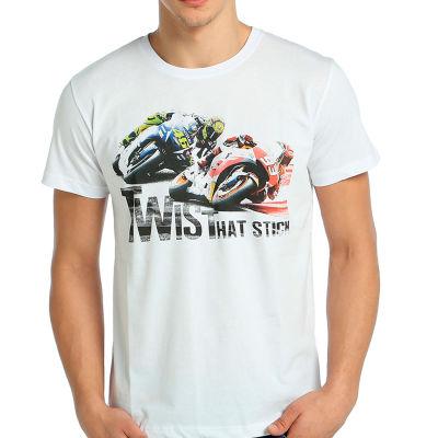 Bant Giyim - Motosiklet Racing Beyaz T-shirt
