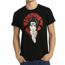 Bant Giyim - Naruto Itachi Uchiha Siyah Erkek Tişört - Thumbnail