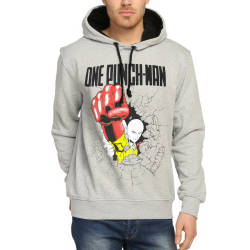 Bant Giyim - One Punch Man Saitama Gri Hoodie - Thumbnail