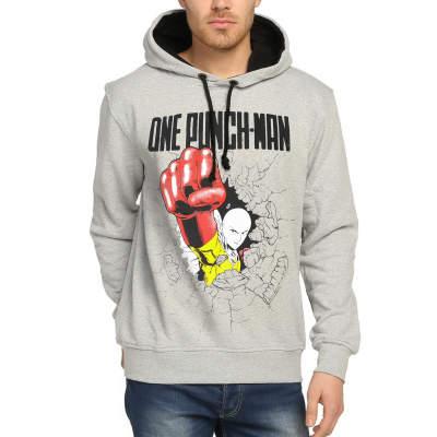 Bant Giyim - One Punch Man Saitama Gri Hoodie