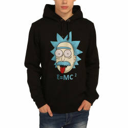 Bant Giyim - Rick and Morty Einstein Siyah Hoodie - Thumbnail