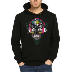 Bant Giyim - Bant Giyim - Stereo Skull Siyah Hoodie