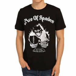 Bant Giyim - Bant Giyim - One Piece Ace Of Spades Siyah T-shirt