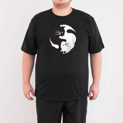 Bant Giyim - Yin Yang Kedi 4XL Siyah T-shirt