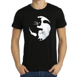 Bant Giyim - Yin Yang Kedi Siyah T-shirt - Thumbnail