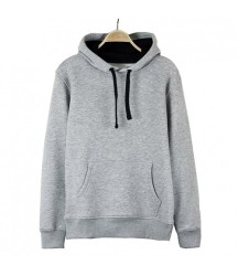 Bant Giyim - Basic Gri Hoodie (3 iplik) - Thumbnail
