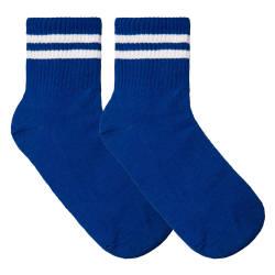 SA - Beyaz Çizgili Mavi Çorap - Thumbnail