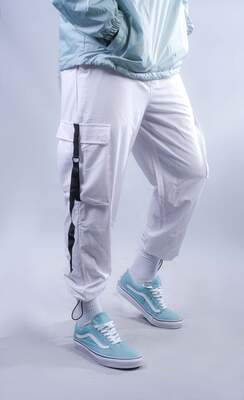 HH - Beyaz Paraşüt Kumaş Jogger