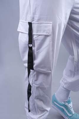 Beyaz Paraşüt Kumaş Jogger