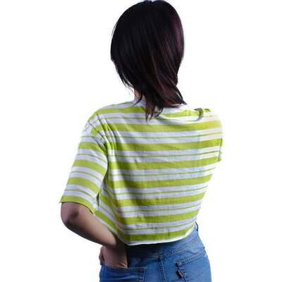 Beyaz-Yeşil Çizgili Bayan Crop Bluz