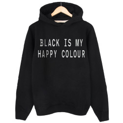 The Street Design - HH - Street Design Black Is My Happy Colour Siyah Hoodie