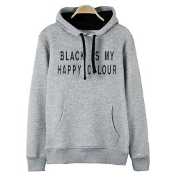 The Street Design - HH - Street Design Black Is My Happy Colour Gri Hoodie