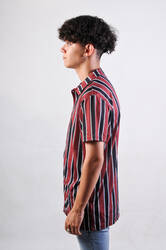 Bordo Siyah Beyaz İnce Çizgili Gömlek - Thumbnail