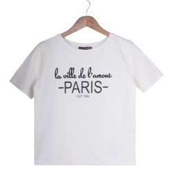 Paris Kadın Krem T-shirt - Thumbnail