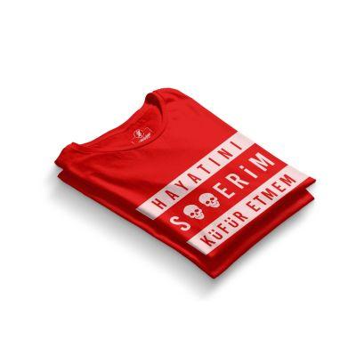HH - Contra Hayatını S**erim Küfür Etmem Kırmızı T-shirt
