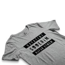 HH - Contra Hayatını S**erim Küfür Etmem Gri T-shirt - Thumbnail