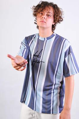 HollyHood - Dark Future Nakışlı Çizgili Oversize Tişört
