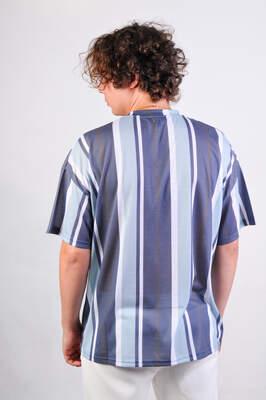 Dark Future Nakışlı Çizgili Oversize Tişört